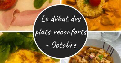 Menu Le début des plats réconforts - Octobre