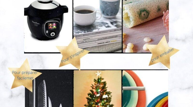 idées cadeaux : un abonnement à un magazine, des couteaux de cuisine, des tissus bee wrap, des assiettes colorées, cookeo ou un autocuiseur. Tout pour manger sain